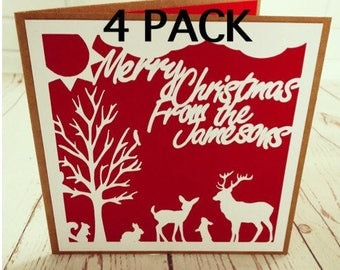 Pack of four family christmas cards, woodland animals theme paper cut, merry christmas from, personalised cards, festive design, handmade.