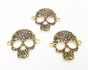 Skull Connector, Gold Skull, Day of the Dead, Halloween Jewelry, 33mm x 21mm, GTP041