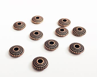 20 Spacer Beads, Copper Spacer Beads, Copper Beads, Saucer Shaped, Copper Spacers, 8mm, BCS031