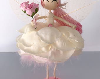Princess flower fairy doll, Angel ornament, Flower fairy gift, miniature fairy doll, gift for girls, fairy cake topper.