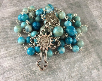 Aqua Rosary, Blue Rosary, Handmade Rosary, Earth Tones, Catholic Rosary, Traditional 5 Decade Rosary, Free Shipping