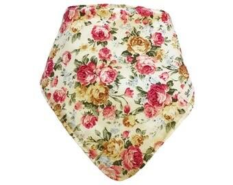 BABY BANDANNA BIB - release • the • corgis ~ cream & pink floral