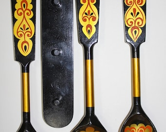 SPOONS Wooden Vintage/ Set of 3 Hand Painted Wooden Spoons/ Khokhloma/ Russian Folk Style/ USSR 1980s