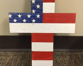 American Flag Wooden Cross