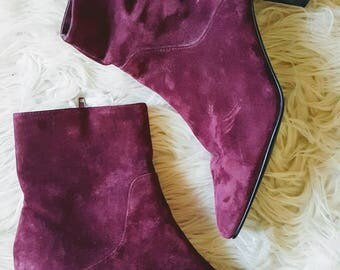 Vintage 90s burgundy suede block heal boots. Magenta leather booties size 7.5