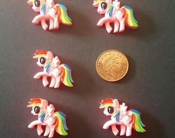 set of 5 resin flat back ponies