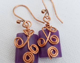Purple with copper wire earrings.