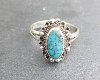 Vintage 1970s Mexican Sterling and turquoise split shank ring