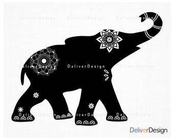 Elephant Tribal, Mandala SVG, PNG File