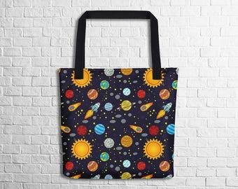 Cartoon Space Tote Bag Geek Tote Bag Geeky Gift Tote Space Tote Bag Galaxy Tote Bag School Tote Witty Novelty