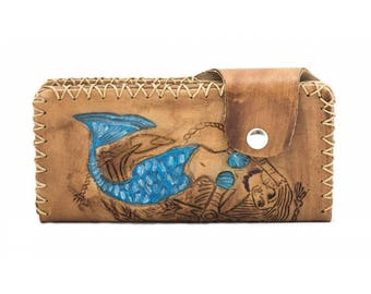 Perla 11032: Handmade Tattoo-Craft Sea Girl Pattern Wallet (Taba)