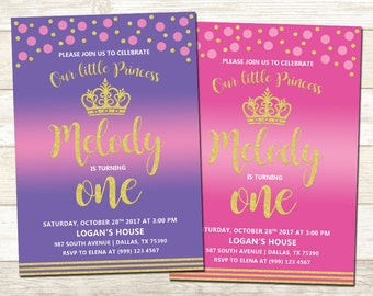 Princess 1st Birthday Invitation - Purple and Gold 1st Birthday Party - Pink and Gold 1st Birthday - Polka Dot Party Invite - Any Age