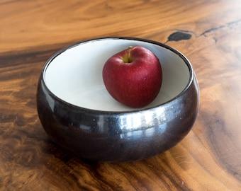 Ceramic Salad Bowl  [ Stoneware Bowl, Fruit Bowl, Serveware Bowl, Black Bowl, White Bowl, Tableware, Housewarming Bowl ]
