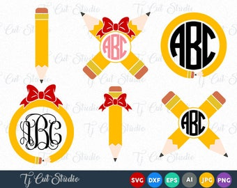 Pencil Circle Monogram, Pencil SVG, Teacher Svg, back to school svg Svg Files for Silhouette Cameo or Cricut Commercial & Personal Use.
