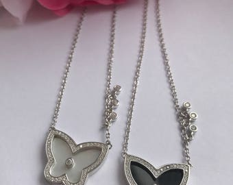 Silver Butterfly Necklace, Sterling Silver Necklace, Butterfly Pendant, Butterfly Charm Necklace, 925 Sterling Silver, White