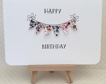 Vintage floral fabric Bunting / pennants greeting card - Birthday/Anniversary - Handmade