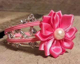 Thin Pink Elastic Headband with Pink Flower