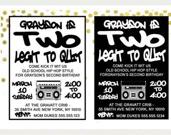 Two Legit to Quit Birthday Invitation, Hip Hop Birthday Party, Printable Invitation, *Digital File*