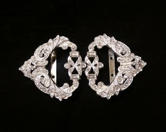 Antique Ladies Silver Belt Buckle with Rhinestones
