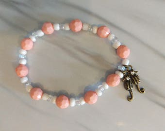Peach Seahorse Bracelet -small