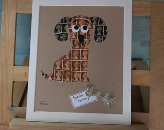 Puppy Post 'Special Delivery'- Recycled Postage Stamp Art