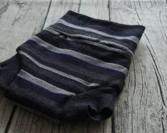 Upcycled medium stripes wool cloth diaper ,wool nappies , wool soaker