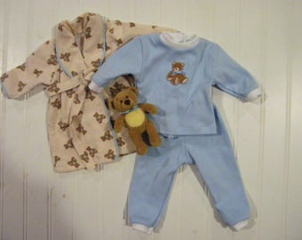 18 inch doll pajama and robe set with teddy bear toy, American Girl,