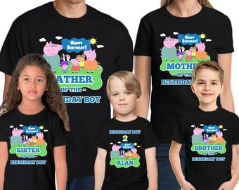 Peppa Pig Birthday Shirt Customized Name and Age Personalized Peppa Pig Birthday