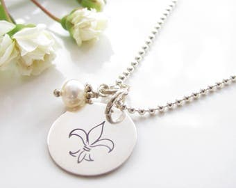 Fleur De Lis - Hand Stamped Sterling Silver with Fresh Water Pearl - Made to Order - NOLA