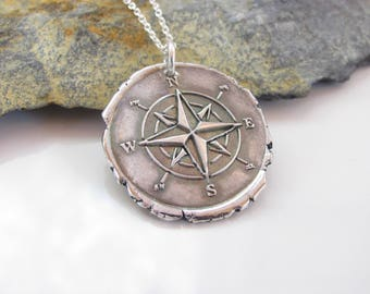 Compass Rose Necklace - Hand Made from Fine Silver- Sterling Chain - Made to Order - Silver Compass Jewelry - True North - Destiny