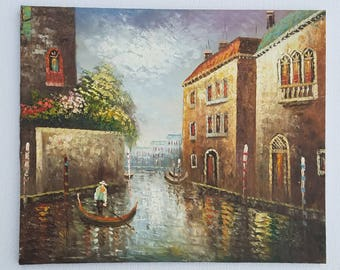 Original Oil Painting of a Gondolier on a Venetian Canal