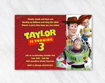 Toy Story Invitation for Birthday Party - Woody Buzz Jessie Invitation - Printable Digital File