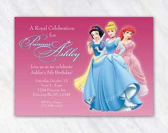 Disney Princess Invitation for Birthday Party - Snow White, Ariel Little Mermaid, Cinderella - Printable Digital File