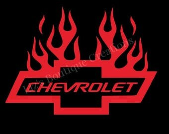 Chevy bowtie flames decal, Chevrolet vinyl decal sticker, car decal, auto accessories, chevy flames, chevrolet decal, chevrolet car sticker