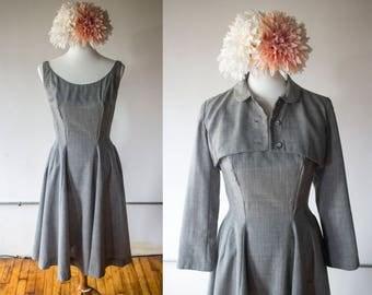 Vintage 1950s Madeleine Fauth Grey Wool Dress w/ Matching Cropped Bolero Jacket