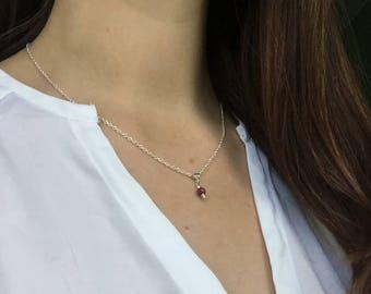 Minimalist Jewelry Ruby Pendant Ruby Gemstone Charm Necklace Chain Silver Plated Genuine Ruby jewelry July Birthstone Jewelry Harmonizer