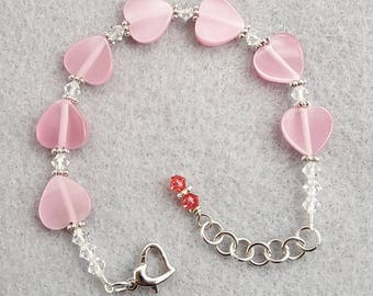 Pink Heart and Crystal Bracelet