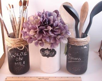 Organized Kitchen Craftroom | Chalk Board Paint | Write on your Jars | Rustic | Distressed | 3 Jar Set | Raffia Tops | Mason Jars