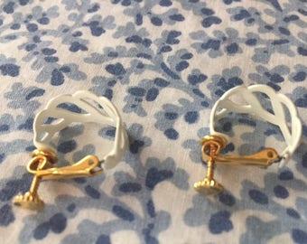 Vintage White Hoop Screw Back Earrings 1960s