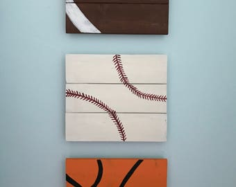 Wood sportsballs wall hangings