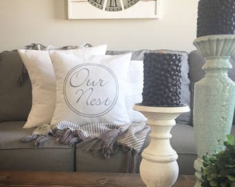 """Our Nest, Farmhouse Style, Pillow Cover, 18""""x18"""", Throw Pillow, Natural Pillow, Cushion Cover"""