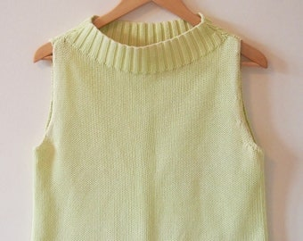 Sleeveless Knit with High Neck, Lime Green, Size M