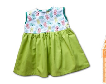 Baby girl clothing / lime green princess dress / 12 months birthday gift