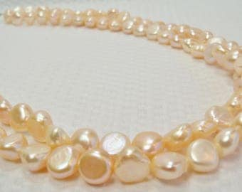 Peach Pearl Necklace, Peach Double Strand Pearl Necklace, Jewelry, Handmade Baroque Peach Pearl Necklace, Baroque Pearls, Peach Pearl Nugget