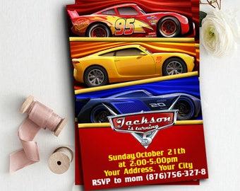 Cars Invitations, Cars Chalkboard, Cars 3 Birthday Invitation, Cars Printables, Cars Party Favors, Cars Birthday, McQueen Invitation, Cars 3