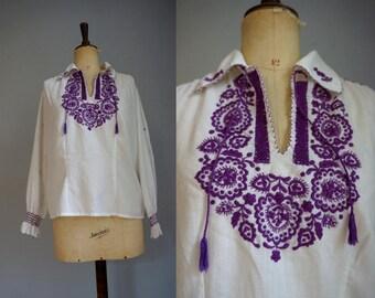 White & Purple Hungarian Peasant Blouse / Vintage Peasant Blouse