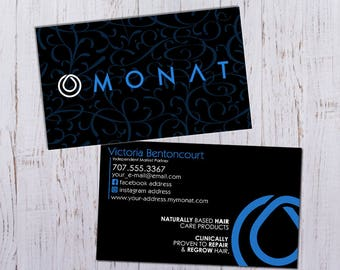 Monat Business Cards - Black and Blue Pattern Design - Durable 16pt - Rich Matte Finish -PRINTED and SHIPPED directly to YOU!