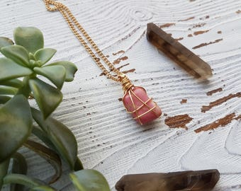 Rhodonite necklace, women's rhodonite necklace, gemstone necklace, chakra jewelry, crystal necklace