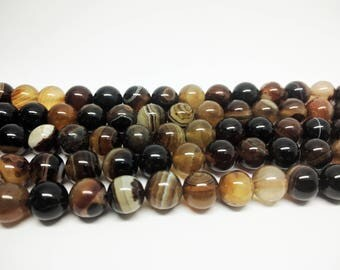 Brown Agate Beads Natural Agate Round Beads Striped Agate Beads for Jewelry Making Brown Beads for Bracelets Jewelry Beads Jewelry Supplies