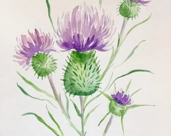 ORIGINAL Purple Thistle Watercolor